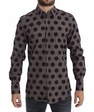 NWT DOLCE & GABBANA Purple Polka Dot Slim Fit GOLD Mens Shirt 37/US14.5/XXS