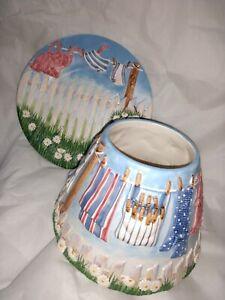 Yankee Candle large summer clothesline Topper Shade Set Plate Ceramic VHTF