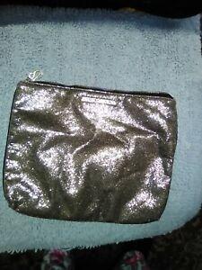 "Victoria Secret ,gold sequine make-up bag,sz, 12""x10"", unused, zip, travel, pret"