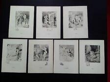 Rare Curiosa A. Willette série 7 péchés capitaux gravures signées estampes