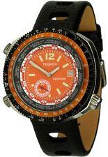 Tegrov worldtimer Aviation Automatikuhr naranja esfera reloj Hombre