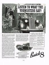 1936 BIG Vintage Buick 8 Convertible Automobile Motor Car Photo Print Ad