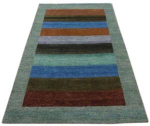 Gabbeh Carpet 122x181 CM Hand Knotted ~100% Wool~ Grey Blue M38