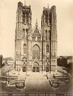 Belgique, Bruxelles, cathédrale Saints-Michel-et-Gudule, la façade   Vintage alb