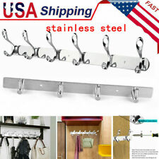 4/12 Hooks Wall Mounted Hanger Robe Towel Rack Stainless Holder Bathroom Door US