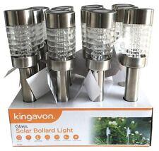 12 X GLASS SOLAR POWER POWERED BOLLARD LIGHTS LED OUTDOOR GARDEN SHED LIGHTING