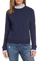 Halogen Removable Collar Sweatshirt Blouse Navy Women's Size Small New
