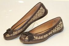 Coach Womens 6 B Saundra Brown Signature Logo Jacquard Ballet Flats Shoes en