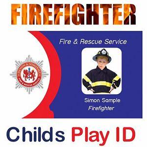 Child's Firefighters ID Card | Fireman ID Card for Kids Fancy Dress Costume