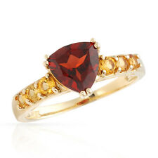 STUNNING SOLID 10K YELLOW GOLD GENUINE GARNET AND CITRINE RING SIZE 7 / O