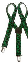 Unisex Green Leaf Trousers Braces Adjustable 25mm Width