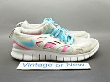 be79b8d7f7531 Girls Nike Free Run 2 Platinum Pink Flash Running Shoes 599728-008 sz 5Y