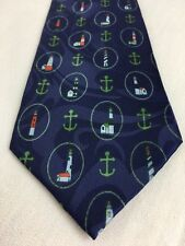 Lighthouse & Anchor Tie by Beverly Hills Polo Club Navy Blue Polyester T68