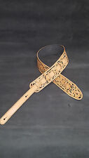 """Leather guitar strap all hand tooled and dyed 3 1/2"""" wide  """"Floral Riffs"""""""