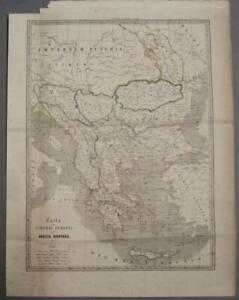 GREECE MACEDONIA BALKAN COUNTRIES 1851 JUNCK ANTIQUE ORIGINAL LITHOGRAPHIC MAP