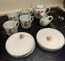 Antique Porcelain Children's Tea Set. Boy? and 2 Girls Made in Japan 15pcs