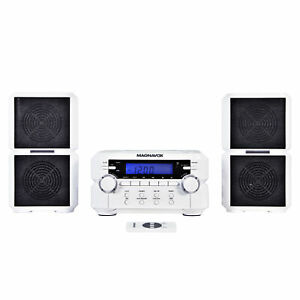 Magnavox MM435-WH Compact CD Shelf System with AM/FM, Bluetooth & Remote, White
