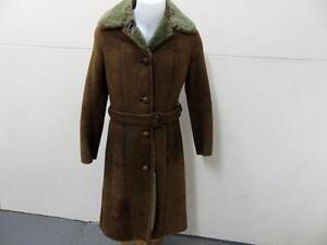 "Womens RICHARD DRAPER SHEEPSKIN/SHEARLING COAT Size 36"" BROWN GOOD SKU No T558"