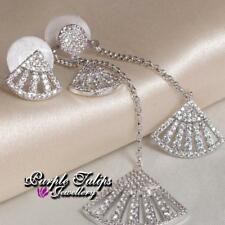 18K White Gold Plated Asymmetric Silver Post Earrings MadeWith Swarovski Crystal