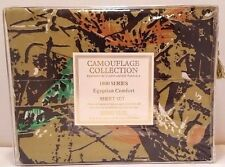 King Size Green Camo Sheet Set 1800 Count Brookside Collection Camouflage NEW