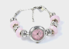 Henley Ladies Dusky Pink Bracelet Watch with Removable Crystal Beads Gift Idea
