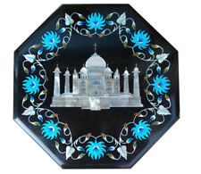 "12"" black Marble Taj mahal Table Top Inlay Work Garden patio Decor"