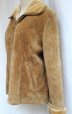SAVANNAH...SUEDE LEATHER...FAUX FUR CUFFS & COLLAR...BROWN...JACKET...sz XL