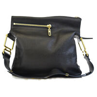 Authentic CHLOE Logos One Shoulder Bag Leather Black Gold-tone Italy 61BC498