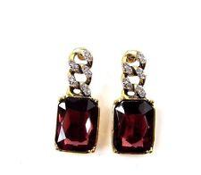 Burgundy Maroon Red Gold Art Deco Earrings 1920s Diamante Stud Vintage 30s 2751