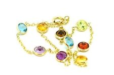 "14K Yellow Gold Bracelet With Multi-Colored Gemstones 7 1/2""   THICKER CHAIN"