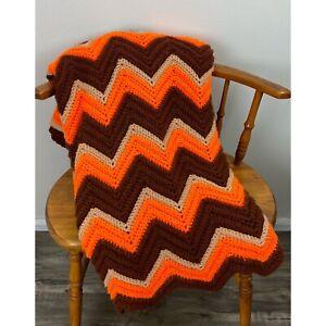 Vintage Large Crocheted Afghan Blanket Throw Orange Brown Chevron Pattern