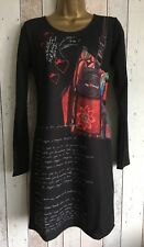 "DESIGUAL ""LAURA"" DRESS S UK10 BLACK GRAPHIC BOHO LONG SLEEVE STRETCH BNWT"