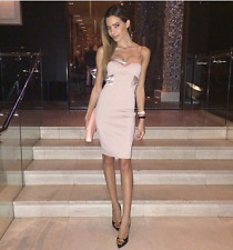 NEW LIPSY MICHELLE KEEGAN Size 12 Nude Satin Panel Bodycon Cami Dress Blogger