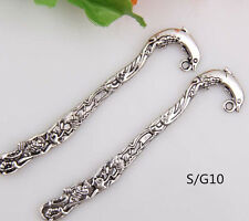 Wholesale 30PCS Tibet Silver Hook Retro Dolphin Pattern Bookmarks 82*8mm S/G10