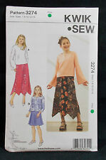 KwikSew Pattern #3274 Girls Pull-on Top & Flared Panel Skirt (7-8-10-12-14)Uncut