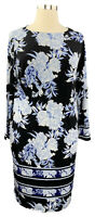INC Int'l Concepts 0X blue floral stretch knit 3/4 sleeve bateau neck dress
