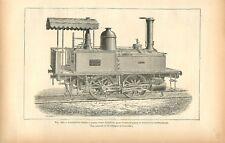 Chemin de fer locomotive-tender quatre roues travaux terrassement GRAVURE  1884