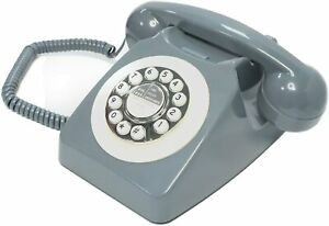 Gray Push Button Phone Retro Telehone Vintage Collector Valentine Birthday Gifts