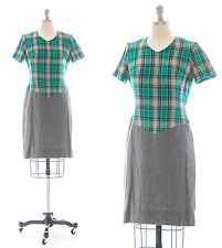 Vintage 1960s Green Wool Plaid Office Secretary Day Dress