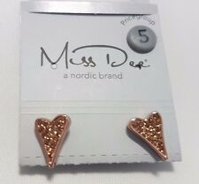 Genuine Miss Dee 14 carat rose gold heart earring with stones RRP £19.99