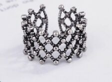 925 Sterling Silver Adjustable Ring Boho Thumb Ring Open Stackable Woven Vintage