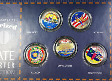 1999 State Quarters Obverse Colorized 5 Coin Uncirculated Set with Box and COA