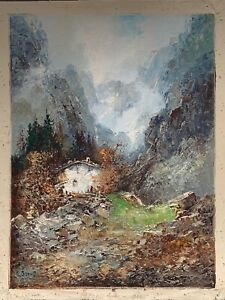"""Willi Bauer """"MOUNTAIN COTTAGE"""" Original Oil On Canvas Painting 15.75""""x 11.75"""""""