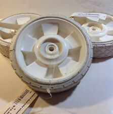 """1x VINTAGE TRICYCLE REAR 6"""" PLASTIC CENTER RUBBER TREAD WHITE WHEELS N.O.S."""