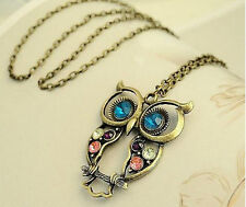 Women Fashion Vintage Style Rhinestone OWL Pendant Long Chain Necklace Jewellery