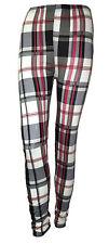 Womens Ladies Tartan Print Full Length Leggings Plus Size Check Trousers 8-14