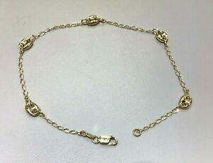 """New 14kt Yellow Gold Puffed Gucci Link 10"""" Anklet -Free Ship!"""