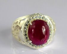 Cabochon Burma Ruby 925 Silver Natural Ring 9.56 Ct Certified Ideal Gift Item