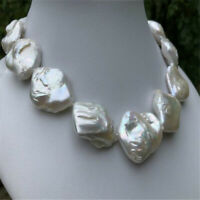 16-20mm natural south sea baroque white pearl necklace 18 inches Mesmerizing