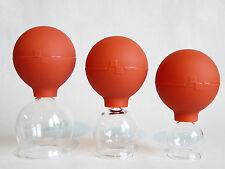 Schröpfglas 3 Schröpfgläser im SET 25 35 45 mm mit Saugball zum Schröpfen